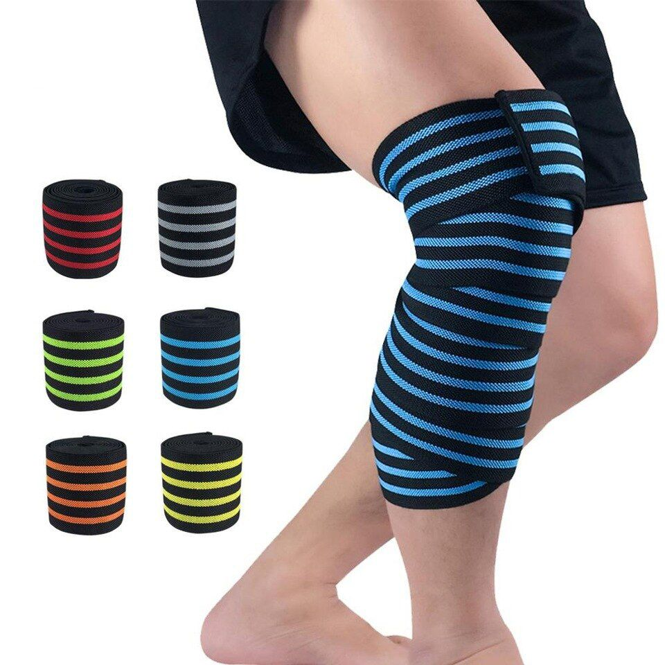 Weightlifting Elastic Bandage Kneepads Protective Gear Knee Wraps Support (Pair)