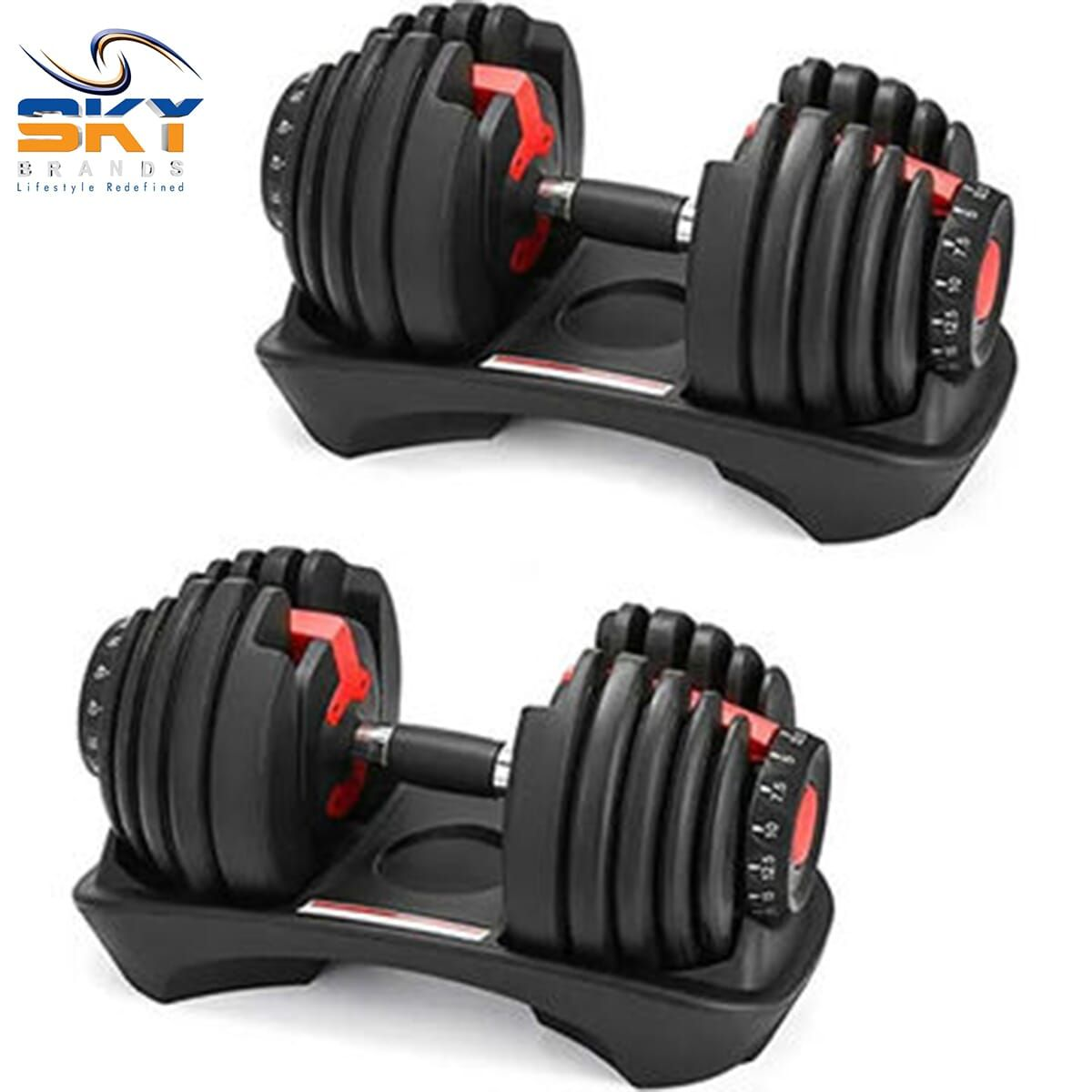 Adjustable Dumbbell Weights – 24kg (Pair)