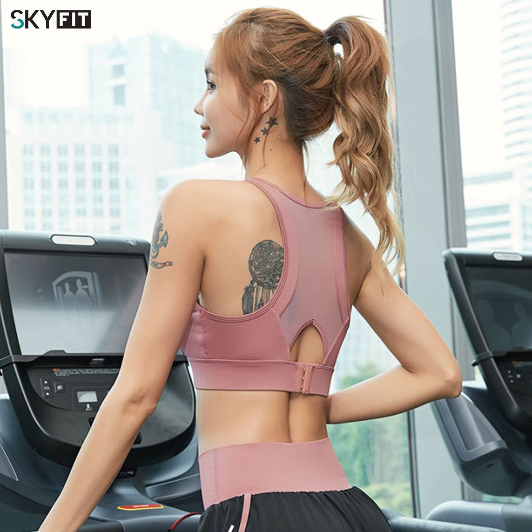 Women's Summer Gather Shockproof Sports Vest Running Professional Bra with Chest Pad Beauty Back Exercise Bra